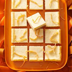 Tangerine Cheesecake Bars - Put a modern spin on classic orange cheesecake with these mouthwatering tangerine cheesecake bars. This is one Easter dessert that's sure to steal the show.