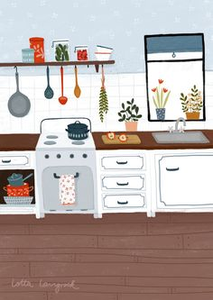 My lovely kitchen Illustration, I'm always hungry Plant Illustration, Cute Illustration, Graphic Design Illustration, Watercolor Illustration, Kitchen Drawing, Kitchen Art, Recipe Drawing, Pop Art Wallpaper, Aesthetic Drawing