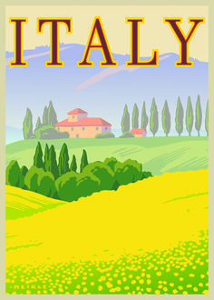 Italy. Such a pretty poster. Vintage Posters, Retro Posters, Print Poster, Poster Ads, Travel Ads, Travel Tourism, Travel Illustration, Italy Illustration, Tuscany Italy