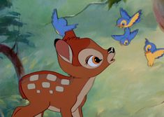 Bambi and birds Walt Disney, Disney Magic, Disney Pixar, Disney Characters, Retro Disney, Vintage Disney, Disney Love, Cartoon Wallpaper, Cute Disney Wallpaper