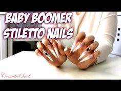 My Awesome Extra Long Baby Boomer Stiletto Nails | CosmeticSnob - YouTube