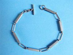 Modernist silver baton and loop link bracelet AJ Johansen Denmark UK import 1972