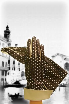 Brown/Beige, Self-indulgent Polka-dot, Silk-lined, Italian Leather Gloves with Wrist Fold.