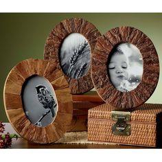 KINDWER Rustic Tree Bark Wood 4x6-inch Oval Frames Set of 3