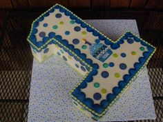 Boy first Birthday Cake...Blue and Green with cupcake on top