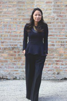 Love the peplum, perfect for hiding a little tummy.  Also love the longer length on the pants.......