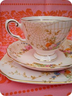 Spider webs     spider webs! it's a lovely soft pink color by Tuscan Fine English China