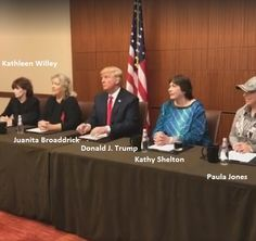 Donald Trump Does News Conference With Bill Clinton Accusers. Mr. Trump may have said some bad words, but Bill Clinton raped me and Hillary Clinton threatened me.