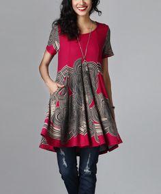 Magenta Cloud Swing Tunic Dress