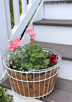 Summer Porch Makeover with Valspar Paint Colors Garden Basket, Basket Planters, Flower Planters, Flower Pots, Flowers, Wire Egg Basket, Wire Baskets, Porch Paint, Porch Makeover