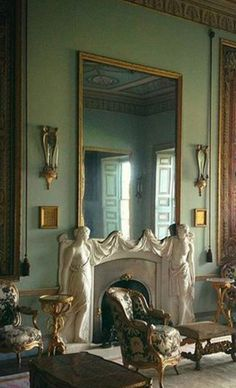 Fireplace by John Bacon, 1776, depicting male and female beauty from @goodwood_curator