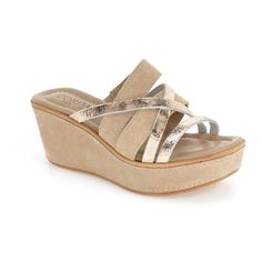 """Cordani 'Kalani' Wedge Sandal, 2 1/2"""" heel (2,965 MXN) ❤ liked on Polyvore featuring shoes, sandals, beige suede, wedges shoes, metallic sandals, platform wedge sandals, strappy sandals and mid heel wedge sandals"""