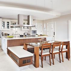 Impressive Marvelous Kitchen Island With Built In Seating A Place To Sit Which Booths And Integrated Kitchen Seating Are Kitchen Island Booth, Kitchen Booths, Kitchen Island With Seating, Kitchen Nook, Kitchen Layout, Island Bench, Kitchen Islands, Kitchen Banquette, Kitchen Ideas