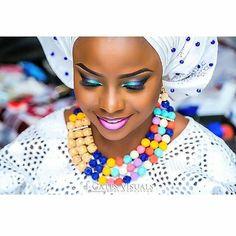 Gorgeous multicolored beads.pic via @jgatesvisuals #tagthemua #weddingvendor #beads #gele #instapost