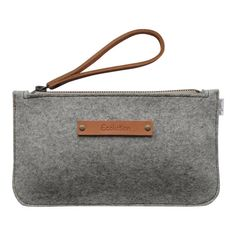 Minimalist Wool felt clutch- iPhone wallet.Small and durable-Handmade in Switzerland- Silver grey - classy  Design-Leather strap