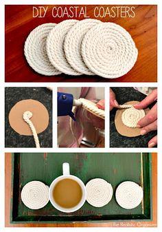 the Realistic Organizer: DIY Class: Coastal Coasters Diy Crafts Hacks, Diy Crafts For Gifts, Diy Home Crafts, Diy Projects, Twine Crafts, Diy Coasters, Diy Recycle, Nautical, Easy