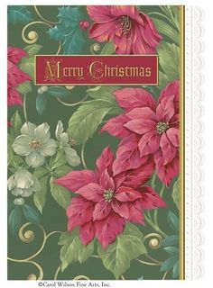 Carol Wilson Boxed Green Poinsettia 5 x 7 Christmas Cards 8 Cards with 9 Envelopes