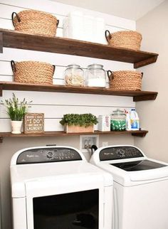 Best 20 Laundry Room Makeovers - Organization and Home Decor Laundry room organization Laundry room decor Small laundry room ideas Farmhouse laundry room Laundry room shelves Laundry closet Kitchen Short People Freezer Shiplap Laundry Room Shelves, Laundry Room Remodel, Small Laundry Rooms, Laundry Room Design, Basement Laundry, Laundry Baskets, Laundry Storage, Closet Shelves, Laundry Closet Makeover