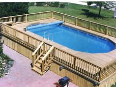 Check out some pictures of customer built decking (full decking) around there above ground pool! Here you can get an idea of what your backyard can become! #ingroundswimmingpooldeckideas