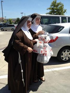 """Nuns endorsing the anti gay stance of Chick Filet.... That's 20k """"hail mary's"""" for you two!"""