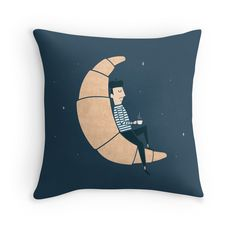 Ze Croissant Moon by Teo Zirinis - Available on a throw pillow, tshirt or mug. Happy Bastille Day!