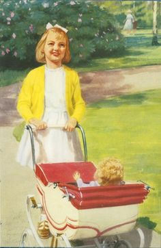 Jane with doll and pram - Play With Us, Peter And Jane