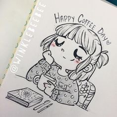 Love Winklebeebee her drawings make me smile, I especially love this one in hono… Love Winklebeebee her drawings make me smile, I especially love this one in honour of national coffee day…coffee lover that I am Art Manga, Anime Art, Cartoon Drawings, Drawing Sketches, Drawings Of Love, Cute Drawings Tumblr, Coffee Drawing, Coffee Painting, Drawing Reference