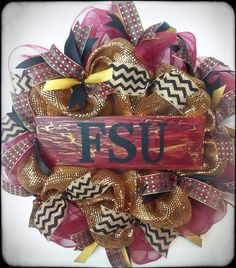 Florida State Seminoles Wreath, FSU Football, College Football, SEC, GO Noles on Etsy, $58.00