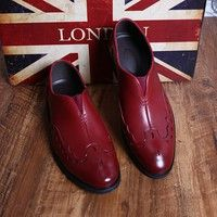 Men Shoes Fashion Leather Shoes Men'S Flats Slip On Men Shoes Genuine Leather High Quality Burgundy