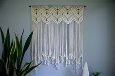 "Large Macrame Wall Hanging - Natural White Cotton 36"" Dowel w/ Beads - Wedding Backdrop, Curtain, Boho Home, Nursery Decor - Ready To Ship by BermudaDream on Etsy https://www.etsy.com/uk/listing/276425426/large-macrame-wall-hanging-natural-white"