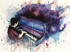 Dan Howell and the piano #01 ~ danisnotonfire - watercolour painting szluu.tumblr.com