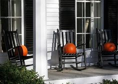 Pumpkins for the rocking chairs on front porch