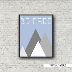 Be free Printable Poster Instant Download Blue by PrintablesWorld Free Poster Printables, Modern Artwork, Bedroom Decor, Typography, Handmade Gifts, Blue, Etsy, Inspiration, Design