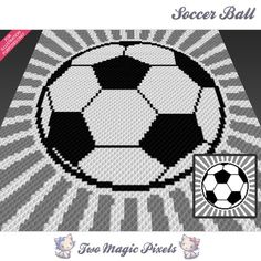 Soccer Ball crochet blanket pattern; c2c, knitting, cross stitch graph; pdf download; no written counts or row-by-row instructions by TwoMagicPixels, $2.84 USD