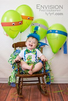 First birthday cake smash, Ninja Turtle cake smash, Kingsport child photographer, crape paper balloons, TMNT cake smash, boy cake smash, TMNT balloons, One year