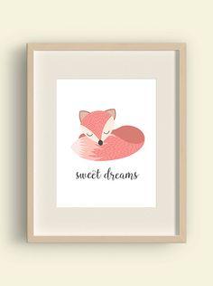 Sweet dreams  baby girl nursery wall art fox by YourLittlePoster