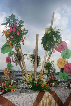 Tropical Indonesian wedding decor