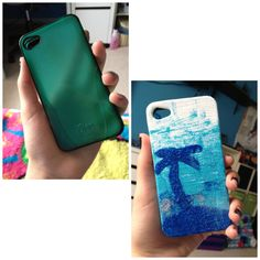 A little mod podge, a little paint and a little glitter and BAM! DIYed phone case.