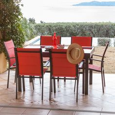 Salon jardin Aluminium Table 135/270cm   Fauteuils empilables MODENA