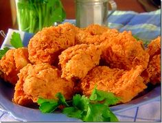 Paula Deen's Southern Fried Chicken. I use boneless breasts and chicken legs. Even my picky eaters go back for 2nds!