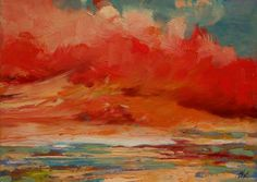 oil painting landscape original 100% charity donation oil scenic painting RED CLOUD art board 5x7, clouds. $35.00, via Etsy.