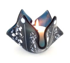 Dark Blue Fused Glass Candle Holder Handmade by Nostalgianmore, $25.00