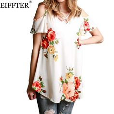 >> Click to Buy << EIFFTER Women Floral Print T-shirt New Casual Summer Ladies Short Sleeve V Neck Bandage Off Shoulder Tops Femme Loose Tee Shirts #Affiliate