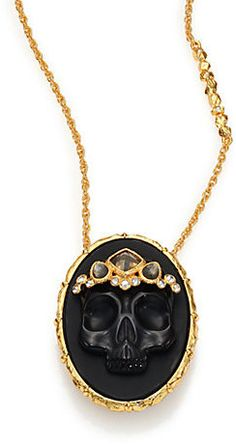 Alexis Bittar Elements Muse D'Ore Black Agate, Pyrite & Crystal Skull Cameo Pendant Necklace #jewellery #necklace