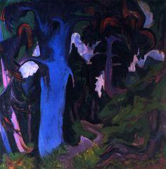 Ernst Ludwig Kirchner - Der blaue Baum, Bergwald (1922)