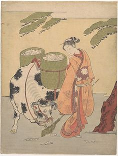 A beautiful woman holding a broom looks back at baskets full of love letters borne by an ox. Harunobu's image alludes to the popular Chinese legend of Kanzan (Hanshan) and his companion Jittoku (Shede) from the Tang dynasty (618–907)