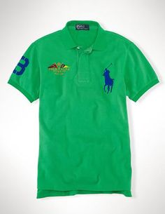 Ralph Lauren Big Pony Green diagonal stripes Polo
