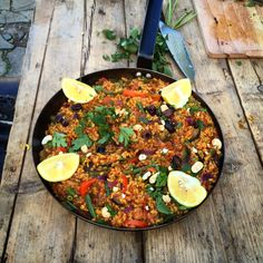Spanish roasted veg paella with smoked paprika, & cashews - dairy & gluten free - really delicious dinner or lunch idea! Veggie Meals, Veggie Recipes, Cooking Recipes, Happy Pear Recipes, Roasted Vegetables, Veggies, Smoked Paprika, Vegan Dinners, Paella