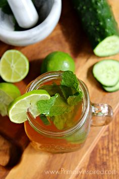 Iced Green Tea Mojito by Primally Inspired - helps digestion and liver detox