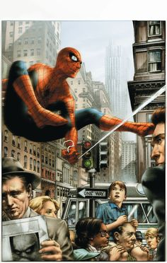 Spiderman by Alex Ross Comic Book Artists, Comic Book Characters, Comic Book Heroes, Marvel Characters, Comic Character, Comic Books Art, Comic Art, Marvel Comics Art, Marvel Dc Comics